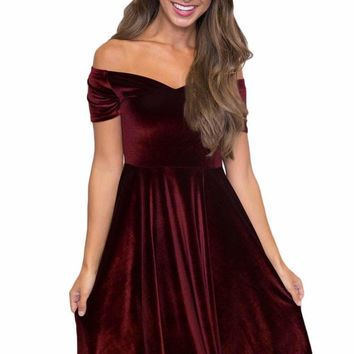 Burgundy Velvet Off Shoulder Pleated Skater Dress