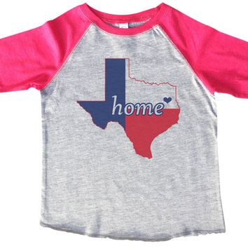 Texas Home BOYS OR GIRLS BASEBALL 3/4 SLEEVE RAGLAN - VERY SOFT TRENDY SHIRT B800