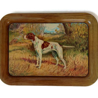 Vintage Tin Serving Tray, 1940's, Hunting Dog, Woodland Scene,