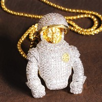 Iced Out 14k Gold Finish Astronaut Man Pendant Chain