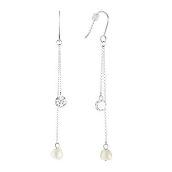 Silver Plated Cultured Freshwater Pearl Chain Earrings, White Round Pearl Drop Earrings