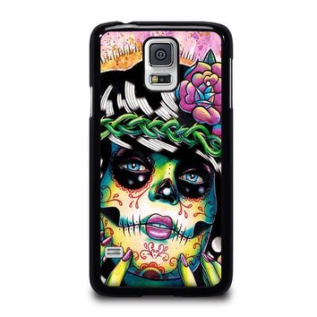 day of the dead skull girl samsung galaxy s5 case cover  number 1