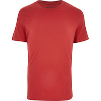 River Island MensRed crew neck t-shirt