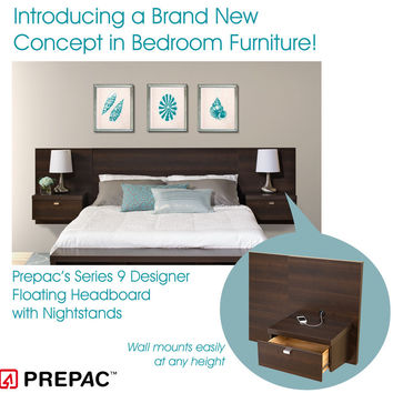 Prepac Series 9 Designer 2-Piece Platform Storage Bed and Headboard Bedroom Set