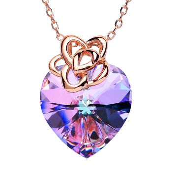 """SWEETV """"Endless Love"""" Heart Swarovski Crystal Pendant Necklace with Rose Gold Chains Jewelry Gift for Women, 16""""+2"""""""