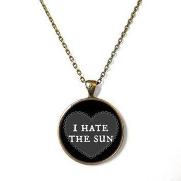CREYONV 90s soft grunge pastel goth black nu goth conversation heart i hate the sun necklace