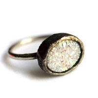 Opalescent White Drusy Oval Ring in Sterling Silver on 14k Gold-Filled Band