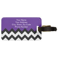 Eggplant Violet & Zigzag Chevron. Chic Luggage Tag from Zazzle.com