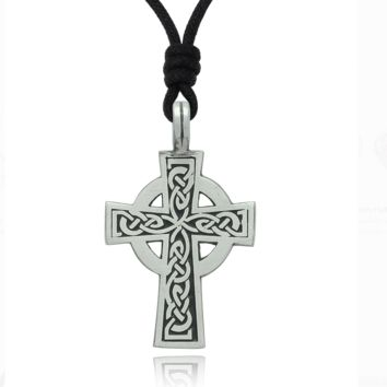 Vintage Celtic Cross Silver Pewter Charm Necklace Pendant Jewelry With Cotton Cord