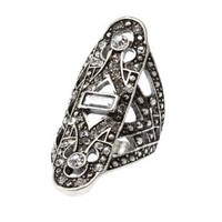 Silver Art Deco Rhinestone Cocktail Ring by Charlotte Russe