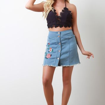 Floral Embroidery Denim High Waisted Mini Skirt