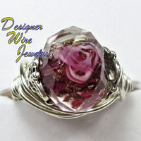 DWJ0168 Romantic Faceted Lampwork Rose Wire Wrap Ring All Sizes