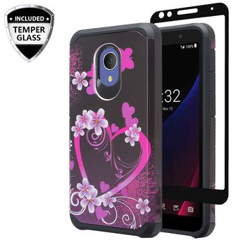 Alcatel 1x Evolve Case, [Include Temper Glass Screen Protector] Slim Hybrid Dual Layer [Shock Resistant] Case for 1x Evolve - Heart Butterflies