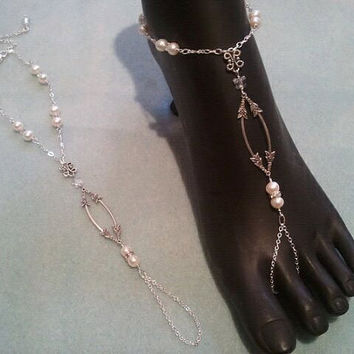 Pearl & Crystal Wedding Barefoot Sandals by Bodynovelties on Etsy