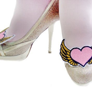 Pink & Gold Winged Heart Shoe Clips