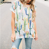 LASPERAL Cactus Plant Printed Funny Tops Tee Women Summer Short Sleeve Irregular Hem T-Shirts Female Loose BasicTee Shirt 2017