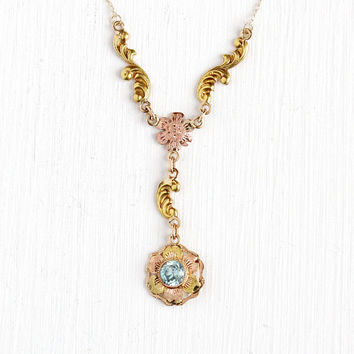 Vintage 10k Rose & Yellow Gold Blue Zircon Gem Flower Lavalier Y Necklace - Art Deco 1930s Two Tone Genuine Gemstone Flower Fine Jewelry