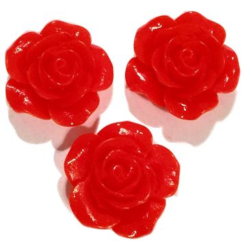 Red flower resin cabochon 18mm / 1-5 pieces
