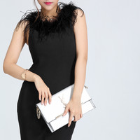 Black Fur-Neck Sleeveless Dress