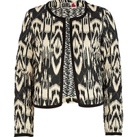 River Island Womens Black Chelsea Girl ikat print bed jacket