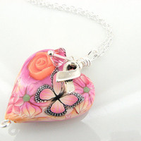Breast Cancer Awareness Necklace - Polymer Clay Heart on Sterling Silver Chain