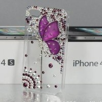 2013 New Hot Apple Iphone5 Case Iphone 5 Case 5s 5g Case Cover Shell Transparent Rhinestone Dragonfly Girl ,Welcome to Retail or Wholesale