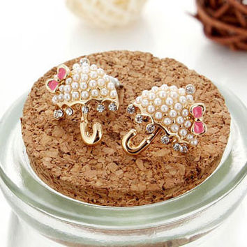 Cute Umbrella Pearls Bowknot Stud Earrings