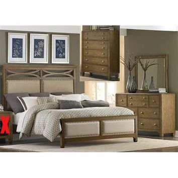 Liberty Furniture Town & Country Panel Bed & Dresser & Mirror & Chest in Distressed Sandstone w White