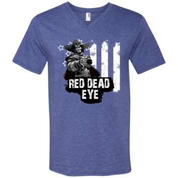 Red Dead eye t shirt 982 Anvil Men's Printed V-Neck T-Shirt