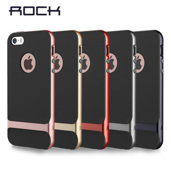 ROCK Brand Case for iPhone SE 5s silicone case PC +TPU Neo Hybrid Durable Slim Armor cover For Iphone 5S se free ship