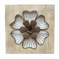 SHD0167 Stratton Home Decor Rustic Flower Wall Decor