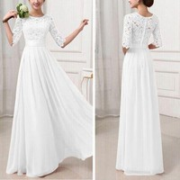 Women Lace Long Formal Prom Dress Cocktail Party Gown Evening Bridesmaid Dresses