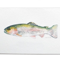 Rainbow Trout Watercolor Painting Greeting Card - 5 x 7