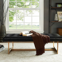 Oppland Black Leather Bench