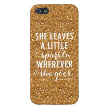 She Leaves A Little Sparkle Wherever She Goes iPhone case - Apple iphone 5/5s - 5 5S - Gold Glitter - Sparkle