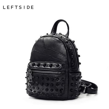 LEFTSIDE 2017 Rivets Black Mini Backpacks for women's Lady's Back packs PU Leather Bags Fashion Travel Bag For High School girls