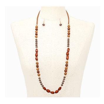 Boho Braided Suede Brown Wood Multi-Color Bead Strand Long Necklace