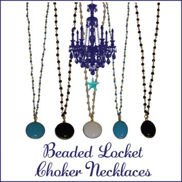 Tropical Beaded Locket Choker Statement Necklaces-Design Your Own