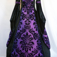 Gothic dress medieval gown pagan costume black velvet and purple embossed taffeta Renaissance wedding custom made to any size