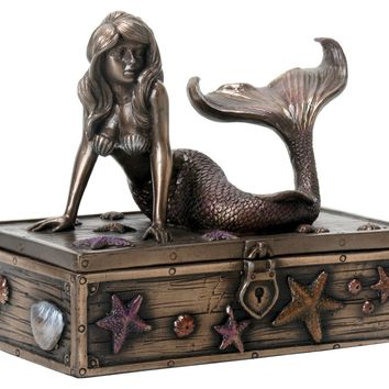 Bronzed Metal Mermaid Trinket Jewelry Box