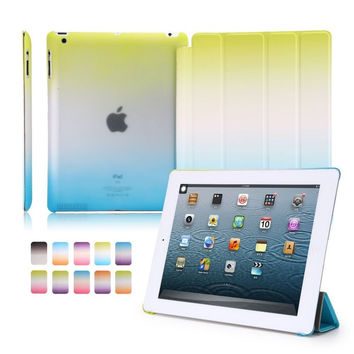 For iPad 4 3 2 One Piece Design Colorful Rainbow Gradual Intelligent Wake Sleep Smart Case Capa for iPad2 iPad3 iPad4 Cover
