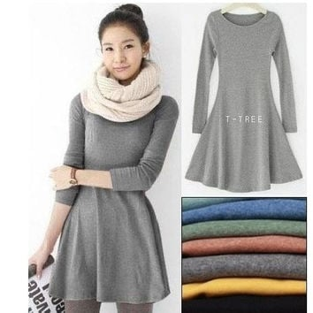 Long Sleeve Wool Dress = 1932812804