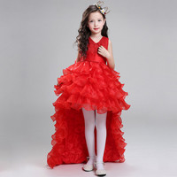 Retail Flower Girl Dresses For Weddings Elegant Trailing Gown Free Shipping Girls Princess Dress Kids Evening Gowns LS003TW