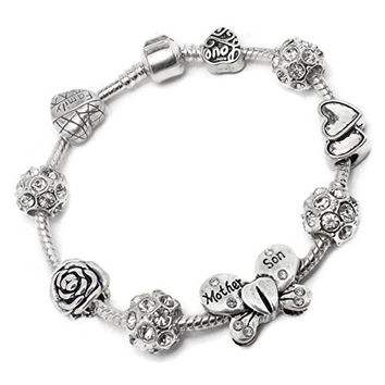 Mother Son Butterfly Charm Bracelet Pandora Troll Chamilia Style By Truly Charming