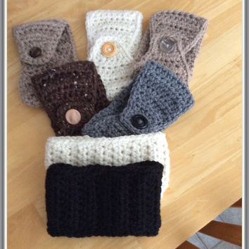 20 % off Women's Crocheted Ear Warmers with Button, Ladies Winter Headband, handmade ear warmers, gifts for her, ready to ship now