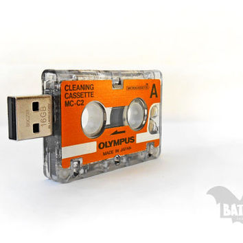 BAT™ USB 16GB - Mini journalist Olympus analog cleaning tape usb-Analog Interview cassette Collectible - Orange -Offer Extension Angle Cable