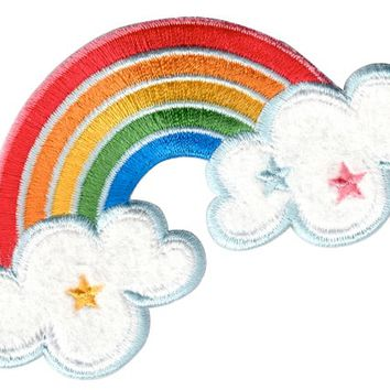Rainbow Patch Iron On or Sew On Embroidered Applique for clothing / kids / baby