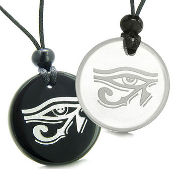 Amulets Love Couple All Seeing Eye of Horus Magic Powers Quartz Black Agate Pendant Necklaces
