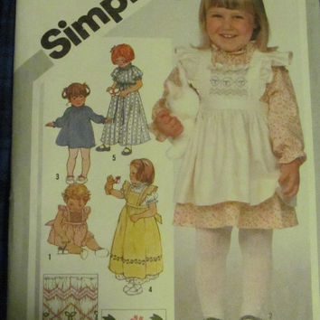 SALE Uncut 1980's Simplicity Sewing Pattern, 5293! Size 1 Toddlers, Apron Style Dresses, Prairie Dress, Casual Summer Dress, Pullover, Pinaf