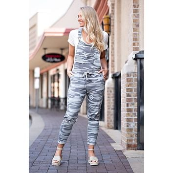 Watch Closely Camo Print Overalls : Classic Grey